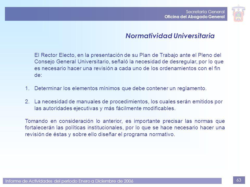 63 Secretaría General Oficina del Abogado General Informe de Actividades del periodo Enero a Diciembre de 2006 Normatividad Universitaria El Rector El