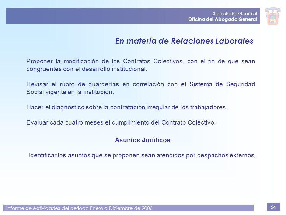 64 Secretaría General Oficina del Abogado General Informe de Actividades del periodo Enero a Diciembre de 2006 Proponer la modificación de los Contrat