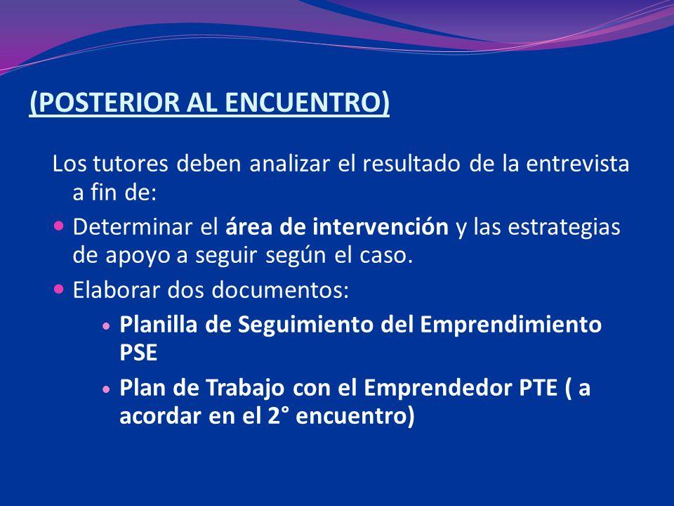 (POSTERIOR AL ENCUENTRO) Los tutores deben analizar el resultado de la entrevista a fin de: Determinar el área de intervención y las estrategias de apoyo a seguir según el caso.