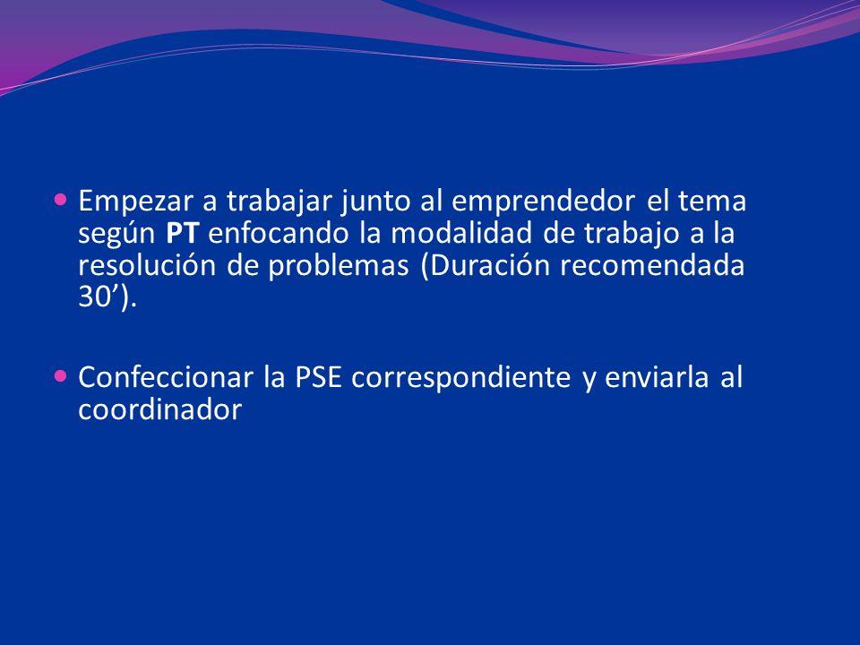 Empezar a trabajar junto al emprendedor el tema según PT enfocando la modalidad de trabajo a la resolución de problemas (Duración recomendada 30). Con