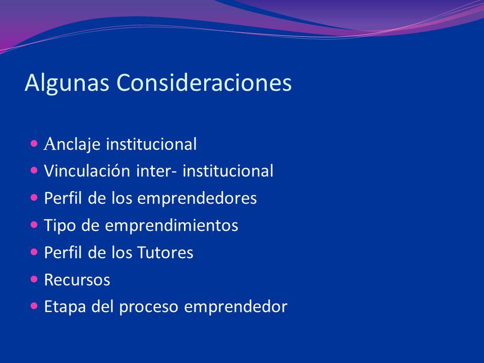 Algunas Consideraciones Anclaje institucional Vinculación inter- institucional Perfil de los emprendedores Tipo de emprendimientos Perfil de los Tutores Recursos Etapa del proceso emprendedor