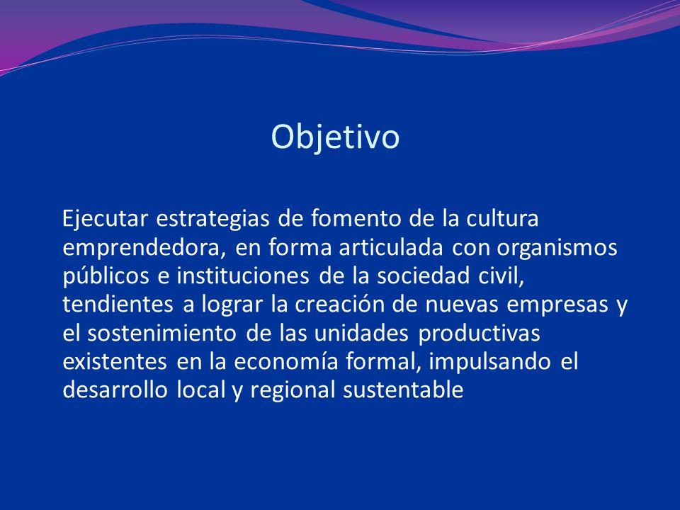 Objetivo Ejecutar estrategias de fomento de la cultura emprendedora, en forma articulada con organismos públicos e instituciones de la sociedad civil, tendientes a lograr la creación de nuevas empresas y el sostenimiento de las unidades productivas existentes en la economía formal, impulsando el desarrollo local y regional sustentable