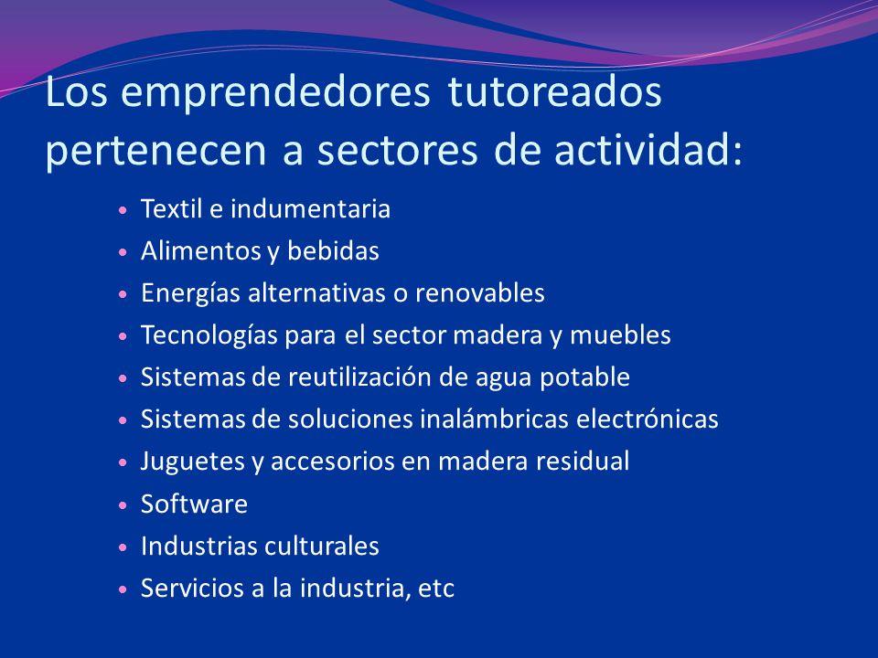 Los emprendedores tutoreados pertenecen a sectores de actividad: Textil e indumentaria Alimentos y bebidas Energías alternativas o renovables Tecnolog