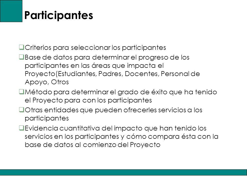 Participantes Criterios para seleccionar los participantes Base de datos para determinar el progreso de los participantes en las áreas que impacta el Proyecto(Estudiantes, Padres, Docentes, Personal de Apoyo, Otros Método para determinar el grado de éxito que ha tenido el Proyecto para con los participantes Otras entidades que pueden ofrecerles servicios a los participantes Evidencia cuantitativa del impacto que han tenido los servicios en los participantes y cómo compara ésta con la base de datos al comienzo del Proyecto