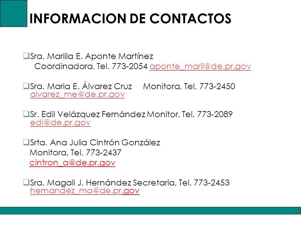 INFORMACION DE CONTACTOS Sra.Marilia E. Aponte Martínez Coordinadora, Tel.