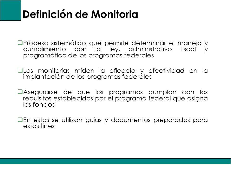 Definición de Monitoria Proceso sistemático que permite determinar el manejo y cumplimiento con la ley, administrativo fiscal y programático de los programas federales Las monitorias miden la eficacia y efectividad en la implantación de los programas federales Asegurarse de que los programas cumplan con los requisitos establecidos por el programa federal que asigna los fondos En estas se utilizan guías y documentos preparados para estos fines