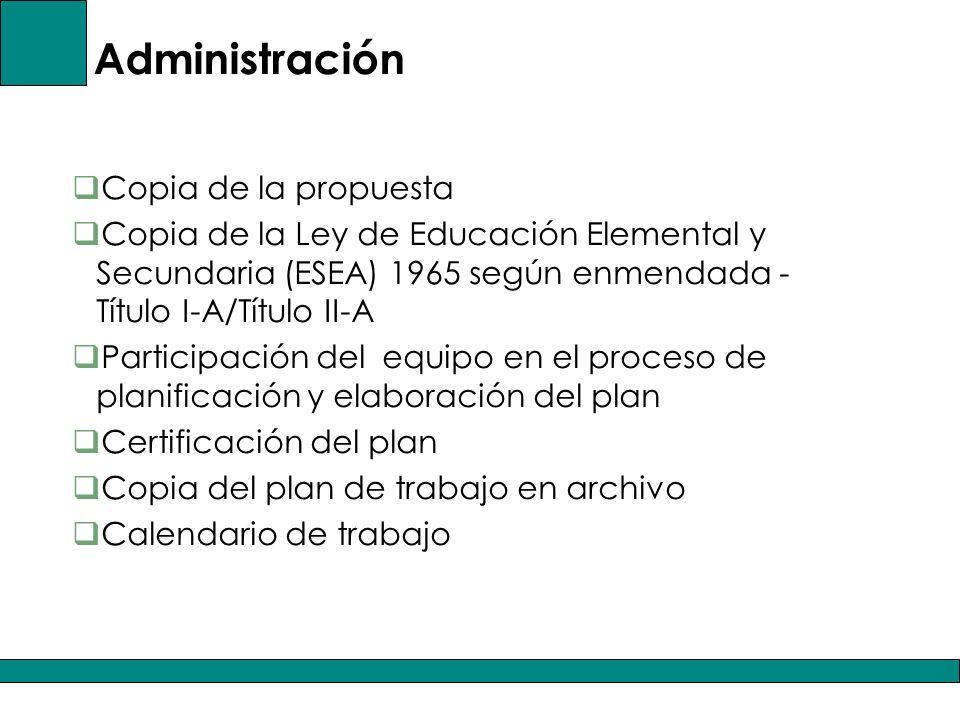 Administración Copia de la propuesta Copia de la Ley de Educación Elemental y Secundaria (ESEA) 1965 según enmendada - Título I-A/Título II-A Participación del equipo en el proceso de planificación y elaboración del plan Certificación del plan Copia del plan de trabajo en archivo Calendario de trabajo