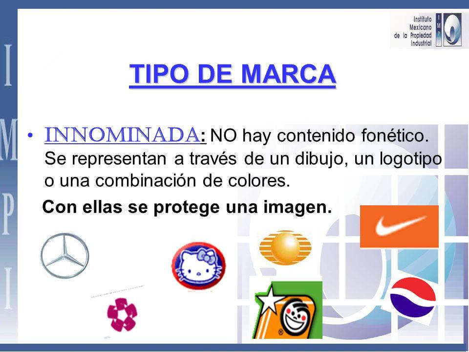 TIPO DE MARCA. Nominativa : Protege la fonética (el sonido), la palabra en sí, independientemente de como se escribe. DIESEL ASPIRINA PANASONIC DON JU