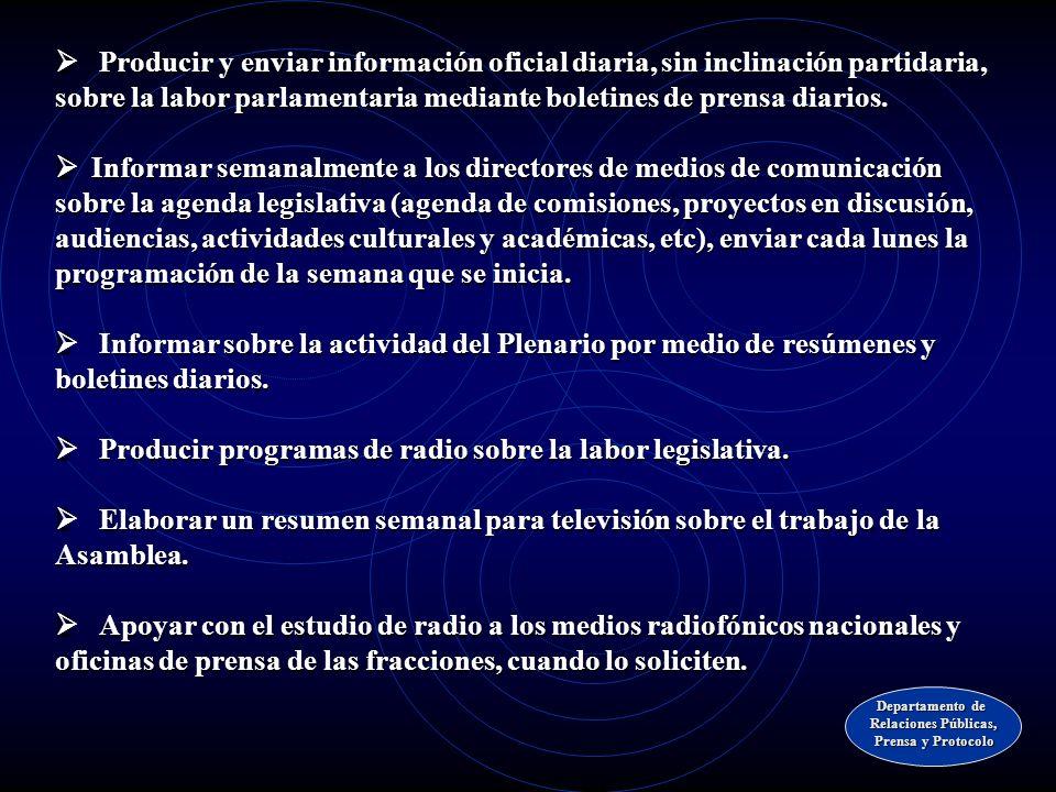ÁREA DE PRENSA INSTITUCIONAL Departamento de Relaciones Públicas, Prensa y Protocolo Prensa y Protocolo
