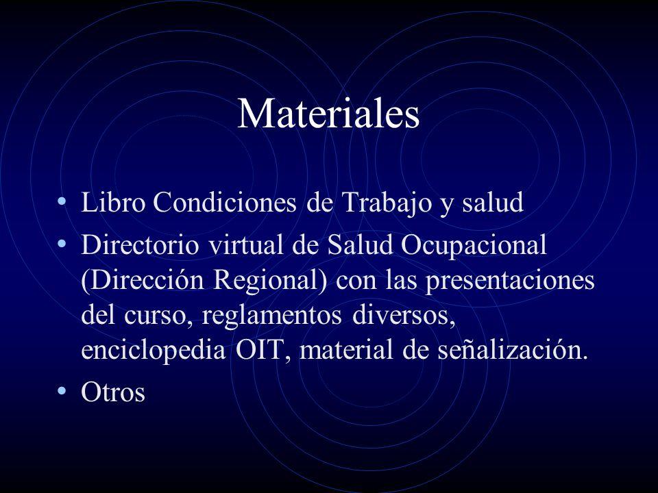 Materiales Libro Condiciones de Trabajo y salud Directorio virtual de Salud Ocupacional (Dirección Regional) con las presentaciones del curso, reglame