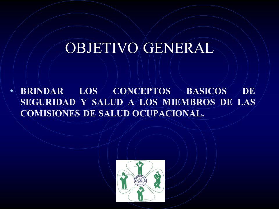 OBJETIVO GENERAL BRINDAR LOS CONCEPTOS BASICOS DE SEGURIDAD Y SALUD A LOS MIEMBROS DE LAS COMISIONES DE SALUD OCUPACIONAL.