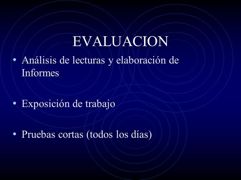 EVALUACION Análisis de lecturas y elaboración de Informes Exposición de trabajo Pruebas cortas (todos los días)