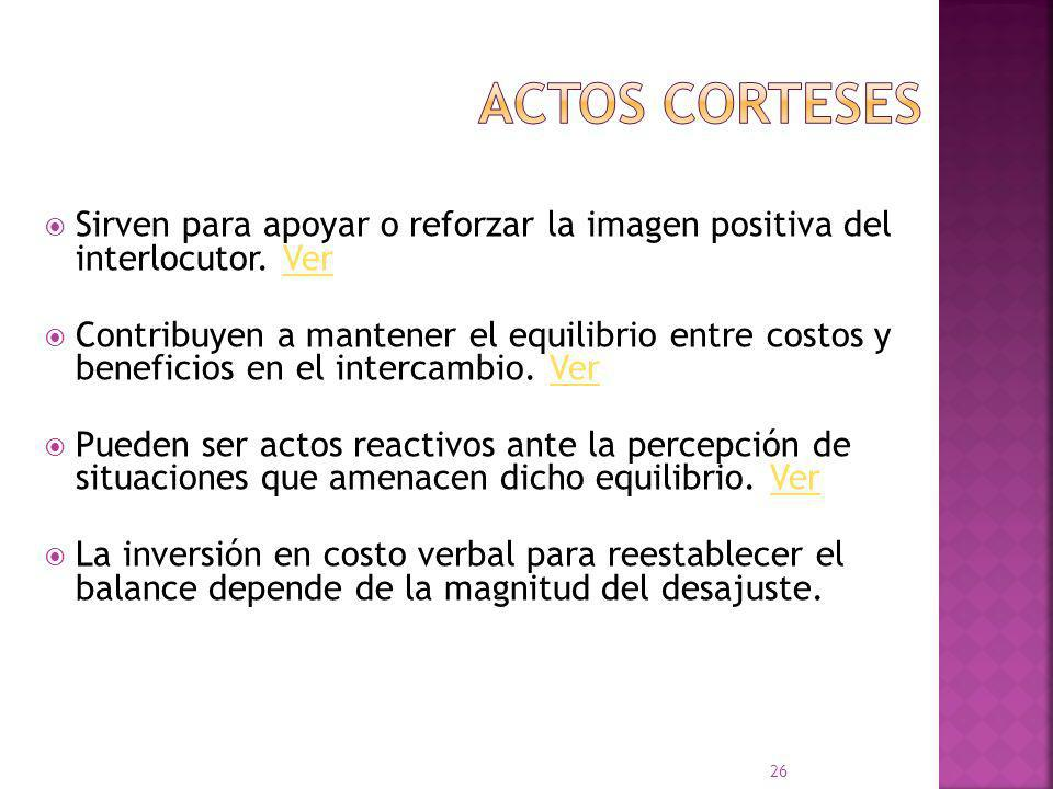 Actos de habla corteses: Ejemplo: actos expresivos Actos de habla no corteses: Ejemplo: actos exhortativos 25