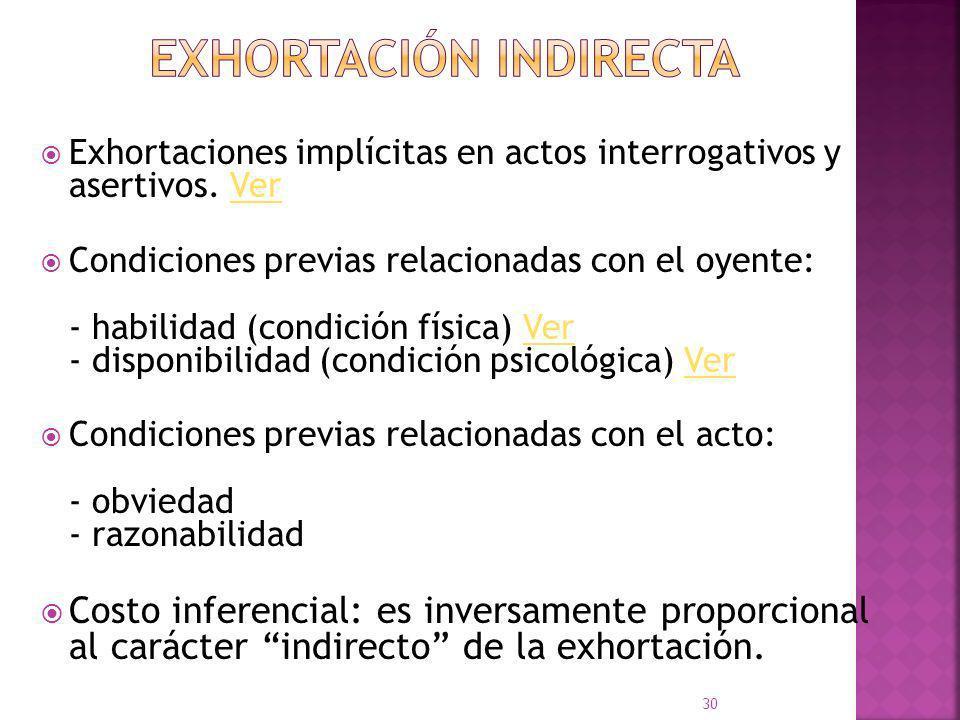 Su objeto ilocutivo no implica un beneficio directo para el interlocutor. La aserción y la exhortación no comunican cortesía en forma intrínseca. Los