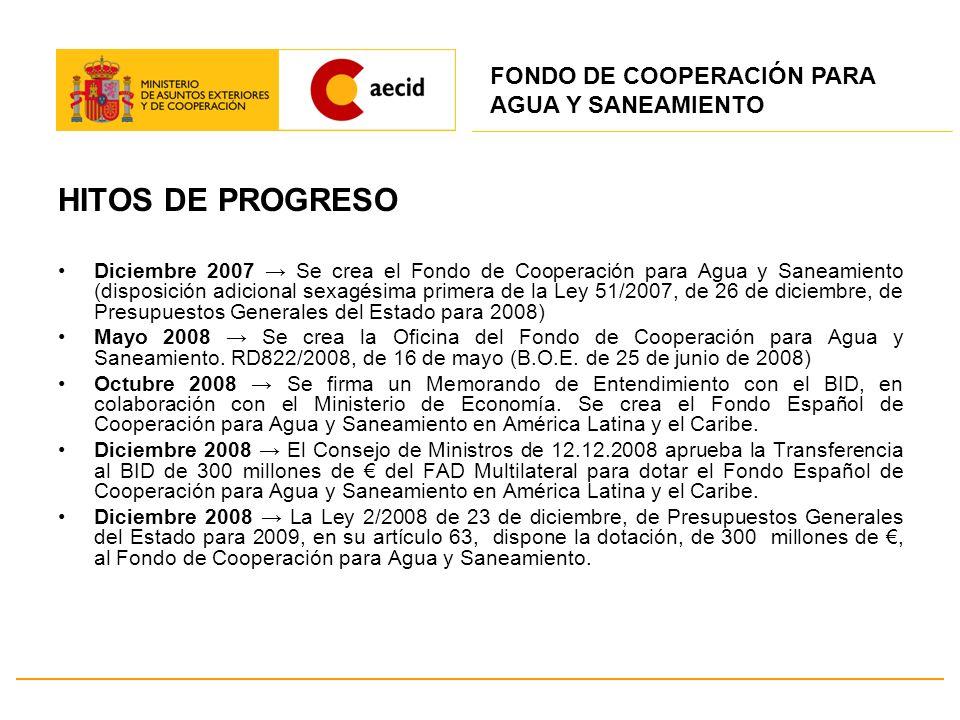 HITOS DE PROGRESO Diciembre 2007 Se crea el Fondo de Cooperación para Agua y Saneamiento (disposición adicional sexagésima primera de la Ley 51/2007,