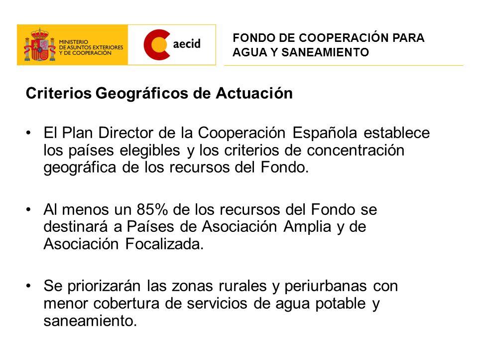 Criterios Geográficos de Actuación El Plan Director de la Cooperación Española establece los países elegibles y los criterios de concentración geográf