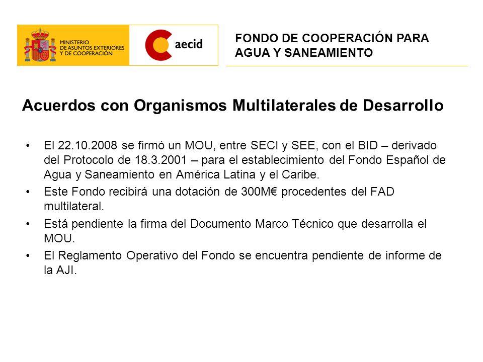 Acuerdos con Organismos Multilaterales de Desarrollo El 22.10.2008 se firmó un MOU, entre SECI y SEE, con el BID – derivado del Protocolo de 18.3.2001