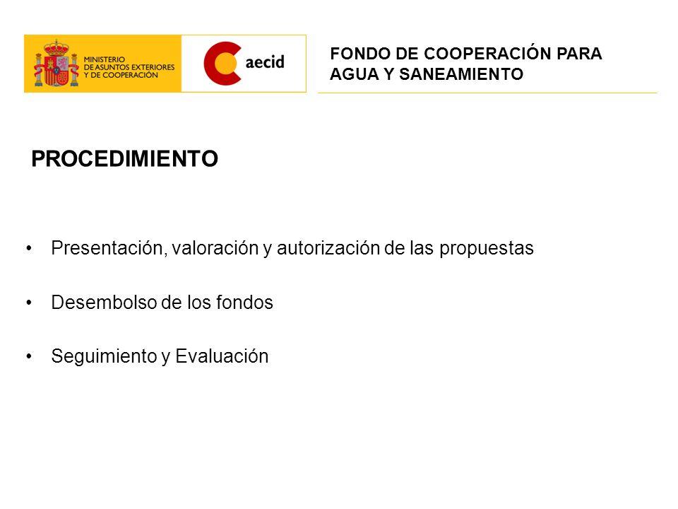 PROCEDIMIENTO Presentación, valoración y autorización de las propuestas Desembolso de los fondos Seguimiento y Evaluación FONDO DE COOPERACIÓN PARA AG