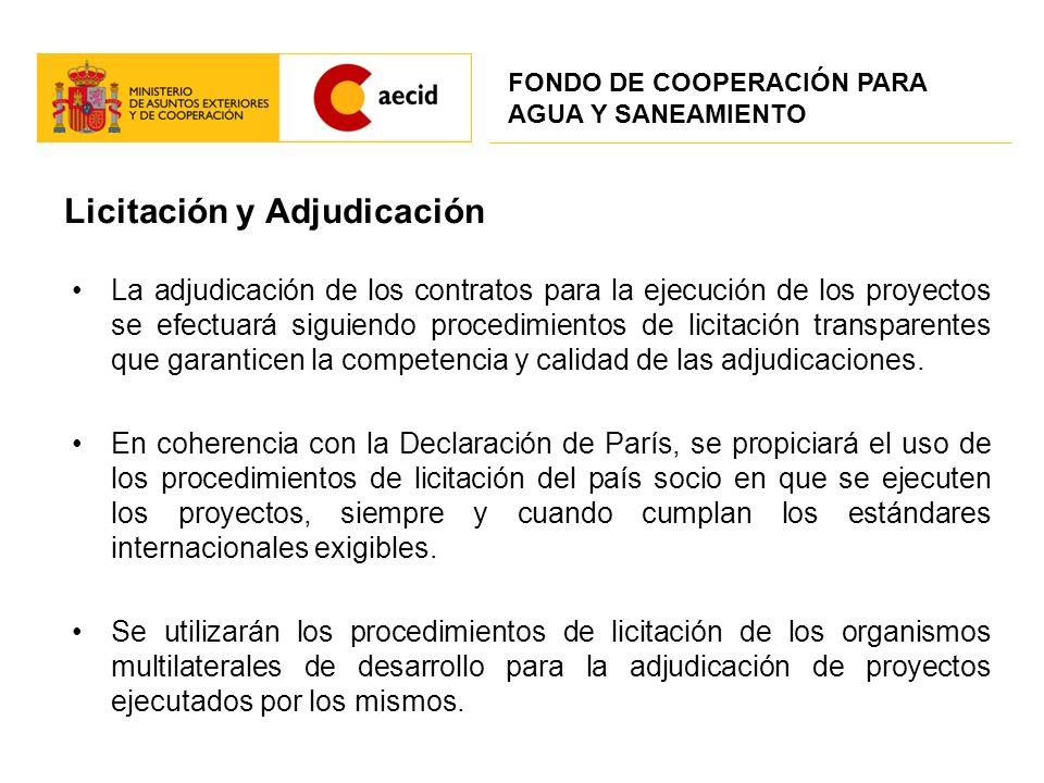 Licitación y Adjudicación La adjudicación de los contratos para la ejecución de los proyectos se efectuará siguiendo procedimientos de licitación tran