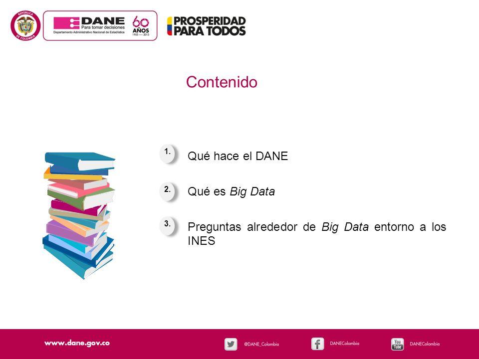 Qué hace el DANE Qué es Big Data Preguntas alrededor de Big Data entorno a los INES 1. 3. 2. Contenido
