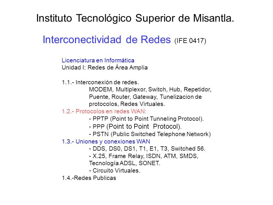 Interconectividad de Redes (IFE 0417) Instituto Tecnológico Superior de Misantla. Licenciatura en Informática Unidad I: Redes de Área Amplia 1.1.- Int