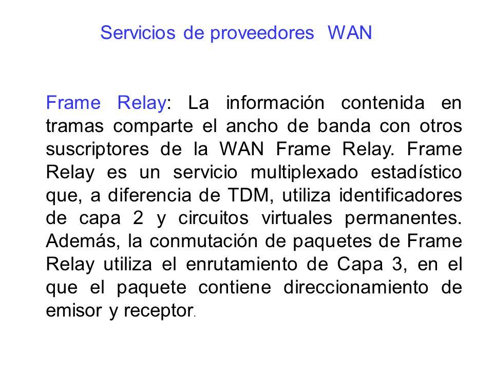 Frame Relay: La información contenida en tramas comparte el ancho de banda con otros suscriptores de la WAN Frame Relay. Frame Relay es un servicio mu