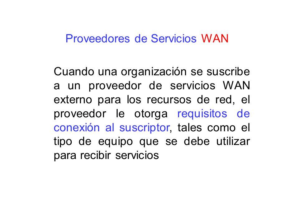 Cuando una organización se suscribe a un proveedor de servicios WAN externo para los recursos de red, el proveedor le otorga requisitos de conexión al