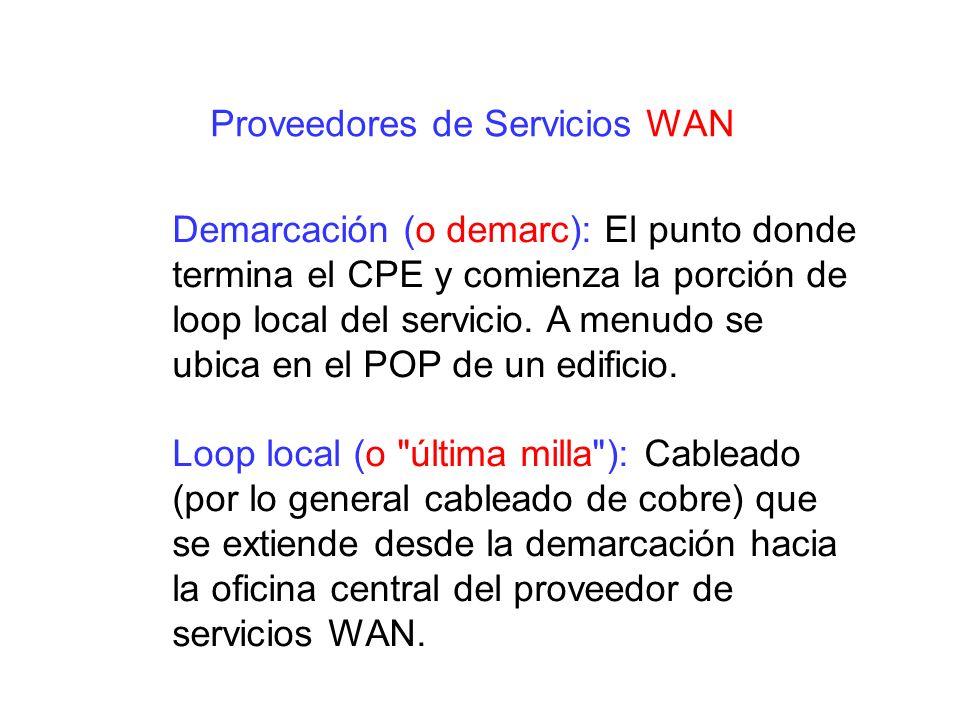 Demarcación (o demarc): El punto donde termina el CPE y comienza la porción de loop local del servicio. A menudo se ubica en el POP de un edificio. Lo
