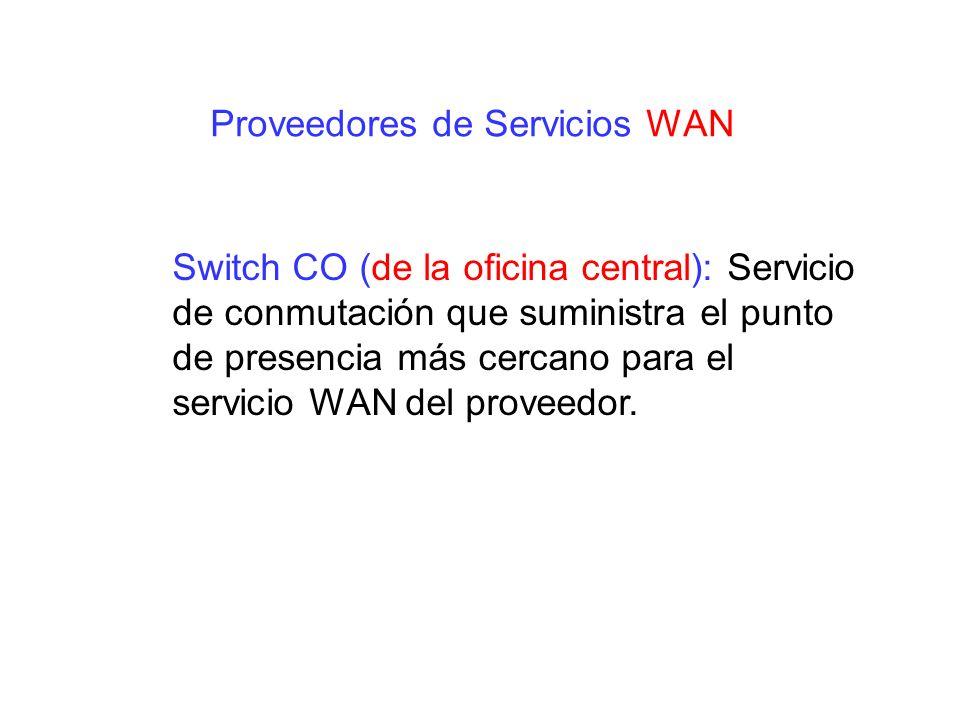 Switch CO (de la oficina central): Servicio de conmutación que suministra el punto de presencia más cercano para el servicio WAN del proveedor. Provee