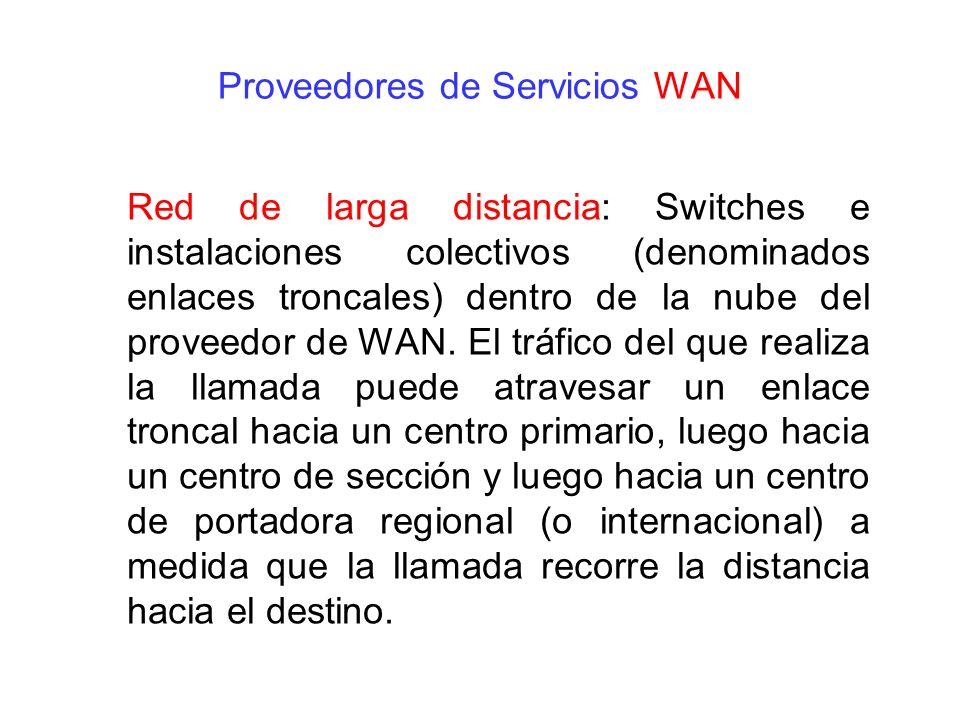 Red de larga distancia: Switches e instalaciones colectivos (denominados enlaces troncales) dentro de la nube del proveedor de WAN. El tráfico del que