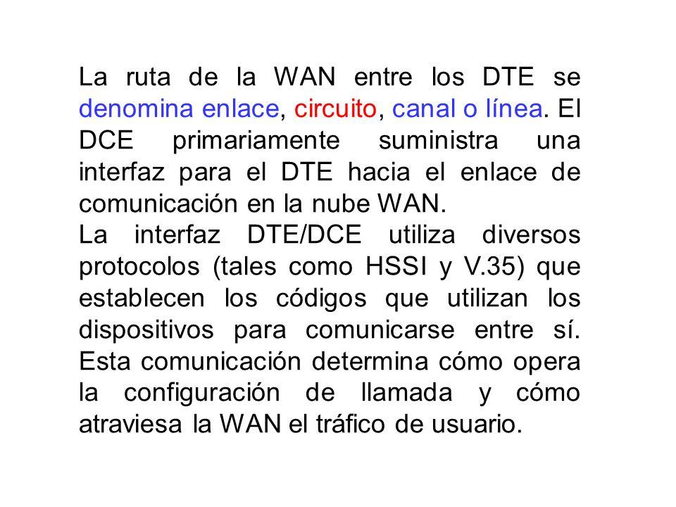 La ruta de la WAN entre los DTE se denomina enlace, circuito, canal o línea. El DCE primariamente suministra una interfaz para el DTE hacia el enlace