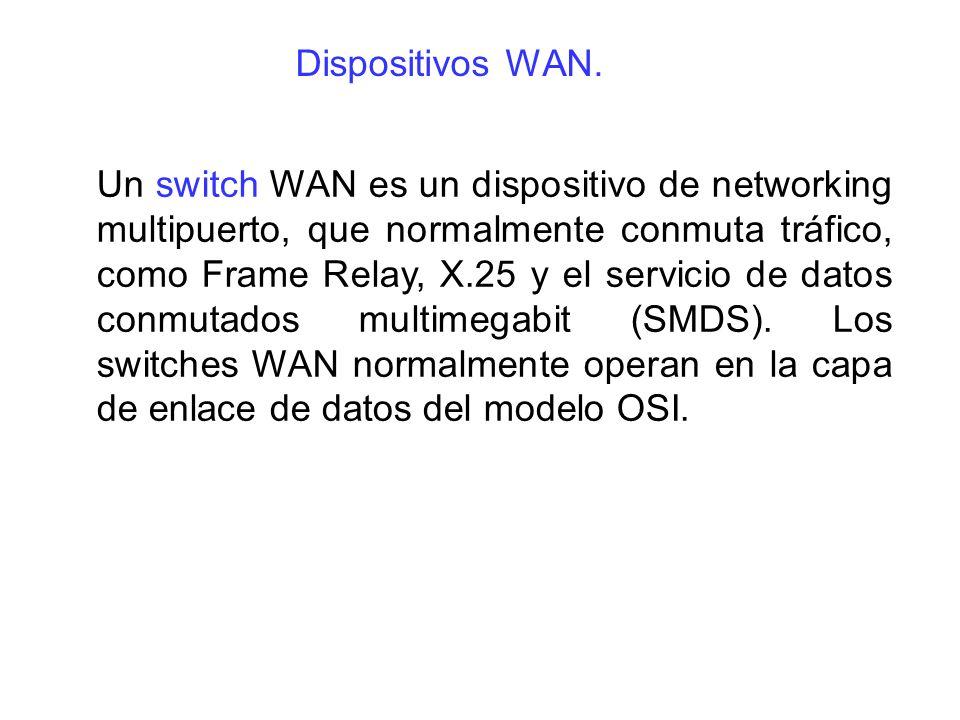 Un switch WAN es un dispositivo de networking multipuerto, que normalmente conmuta tráfico, como Frame Relay, X.25 y el servicio de datos conmutados m