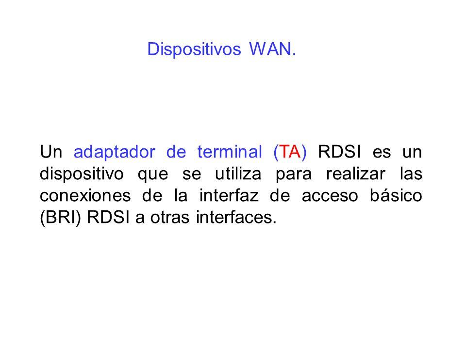 Un adaptador de terminal (TA) RDSI es un dispositivo que se utiliza para realizar las conexiones de la interfaz de acceso básico (BRI) RDSI a otras in