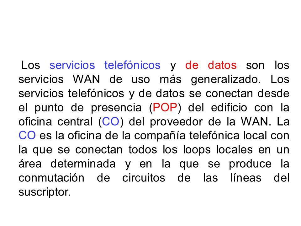 Los servicios telefónicos y de datos son los servicios WAN de uso más generalizado. Los servicios telefónicos y de datos se conectan desde el punto de