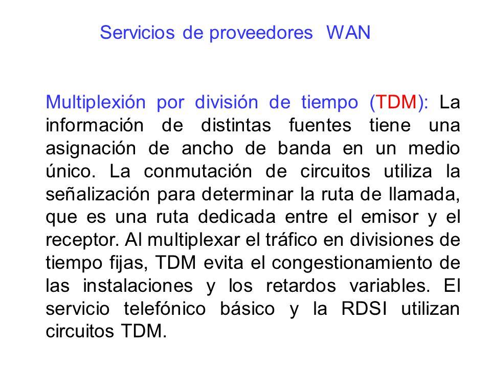 Multiplexión por división de tiempo (TDM): La información de distintas fuentes tiene una asignación de ancho de banda en un medio único. La conmutació
