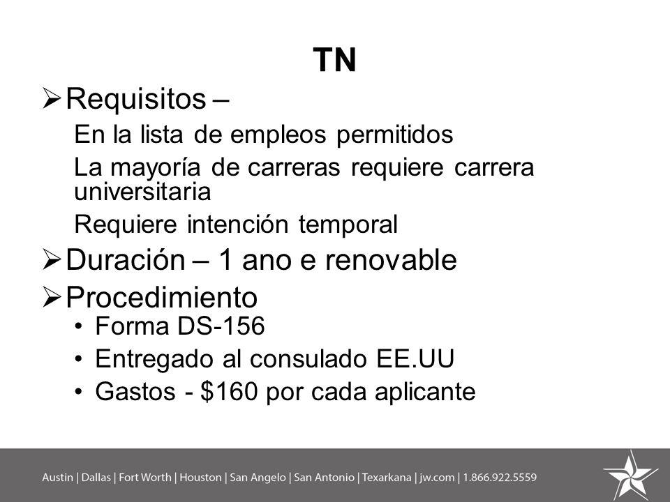 TN Requisitos – En la lista de empleos permitidos La mayoría de carreras requiere carrera universitaria Requiere intención temporal Duración – 1 ano e