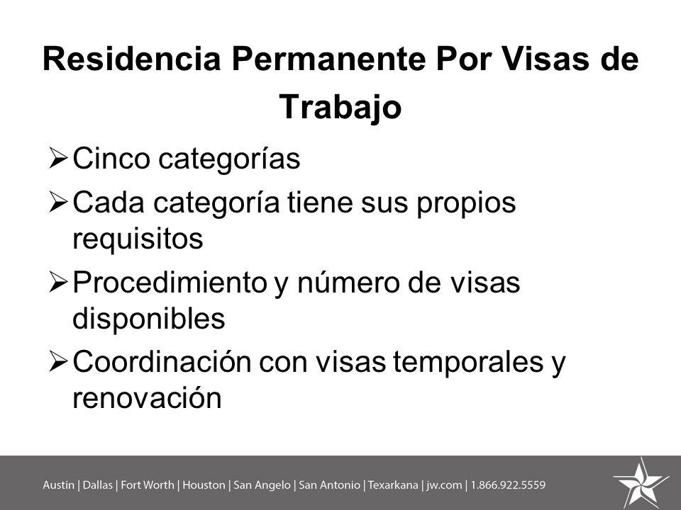 Residencia Permanente Por Visas de Trabajo Cinco categorías Cada categoría tiene sus propios requisitos Procedimiento y número de visas disponibles Co