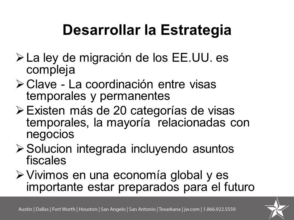 Desarrollar la Estrategia La ley de migración de los EE.UU. es compleja Clave - La coordinación entre visas temporales y permanentes Existen más de 20