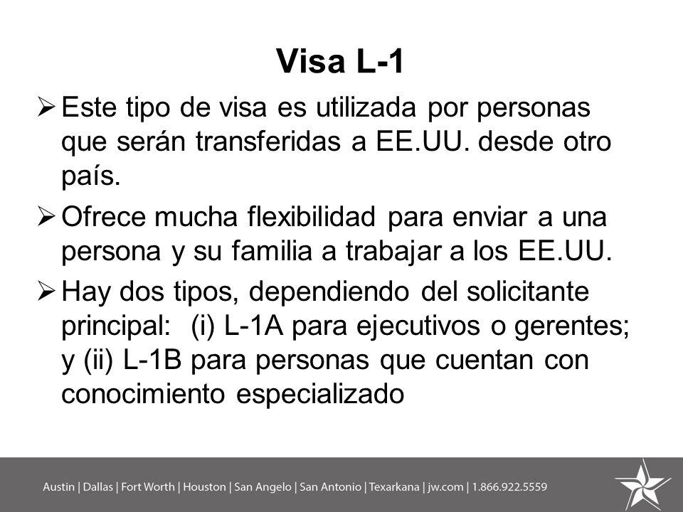 Visa L-1 (cont) Requisitos Existir cierta relación entre la empresa mexicana y la americana – subsidiaria, matriz, filial o sucursal; Que el solicitante haya trabajado un año entre los últimos tres años fuera de los EE.UU.