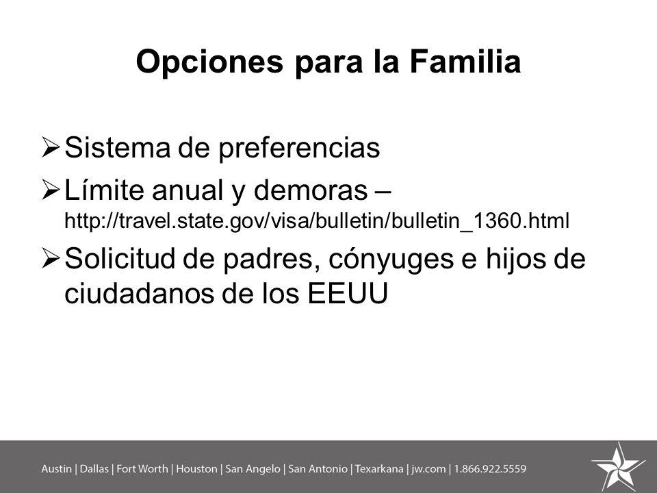 Opciones para la Familia Sistema de preferencias Límite anual y demoras – http://travel.state.gov/visa/bulletin/bulletin_1360.html Solicitud de padres