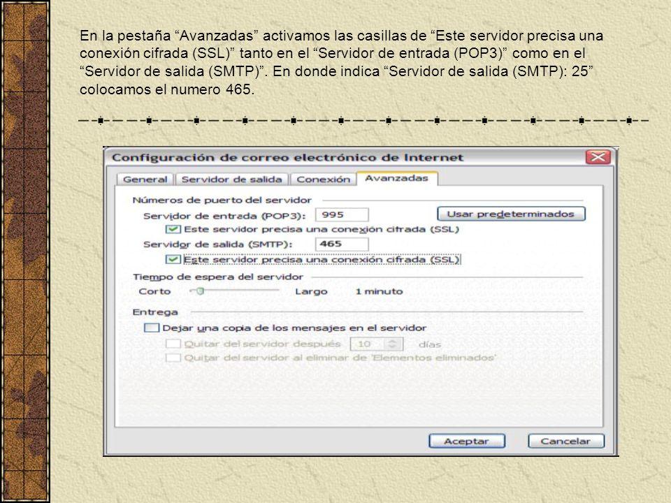En la pestaña Avanzadas activamos las casillas de Este servidor precisa una conexión cifrada (SSL) tanto en el Servidor de entrada (POP3) como en el Servidor de salida (SMTP).