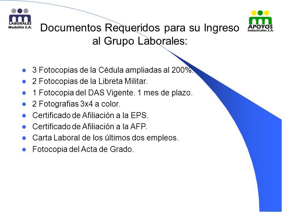 Documentos Requeridos para su Ingreso al Grupo Laborales: 3 Fotocopias de la Cédula ampliadas al 200%.