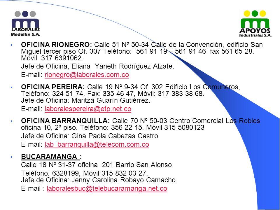 OFICINA RIONEGRO: Calle 51 Nº 50-34 Calle de la Convención, edificio San Miguel tercer piso Of.