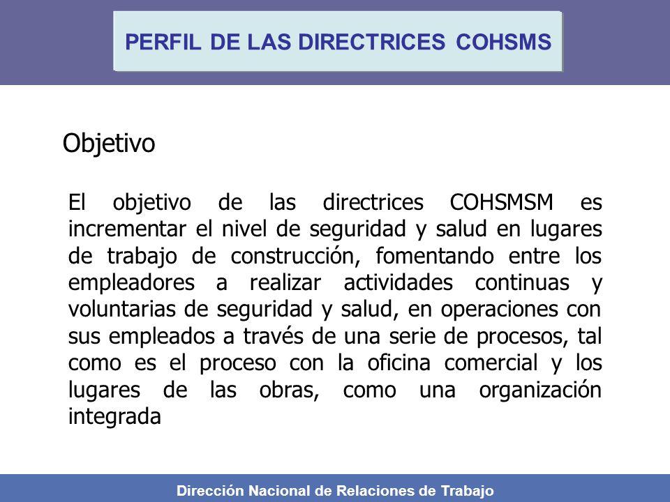 Dirección Nacional de Relaciones de Trabajo PERFIL DE LAS DIRECTRICES COHSMS Objetivo El objetivo de las directrices COHSMSM es incrementar el nivel d
