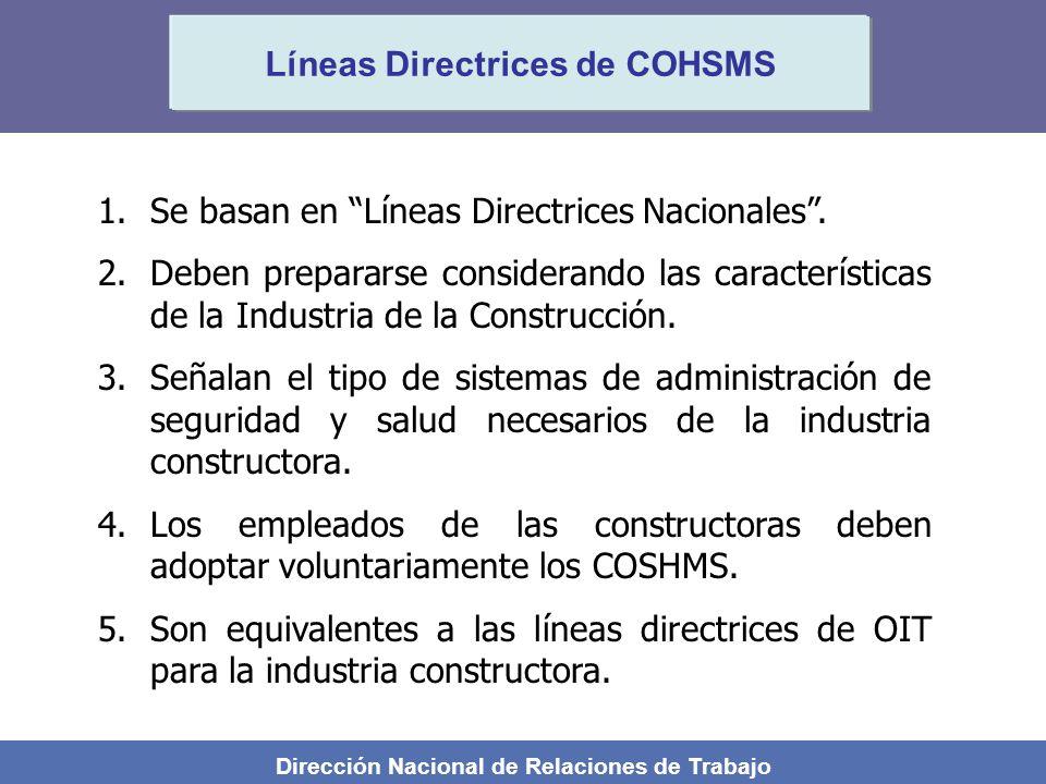 Dirección Nacional de Relaciones de Trabajo Líneas Directrices de COHSMS 1.Se basan en Líneas Directrices Nacionales. 2.Deben prepararse considerando
