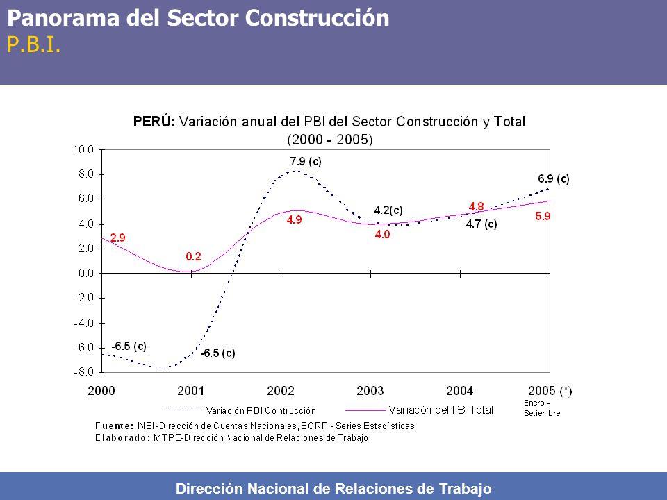 Dirección Nacional de Relaciones de Trabajo Panorama del Sector Construcción P.B.I.
