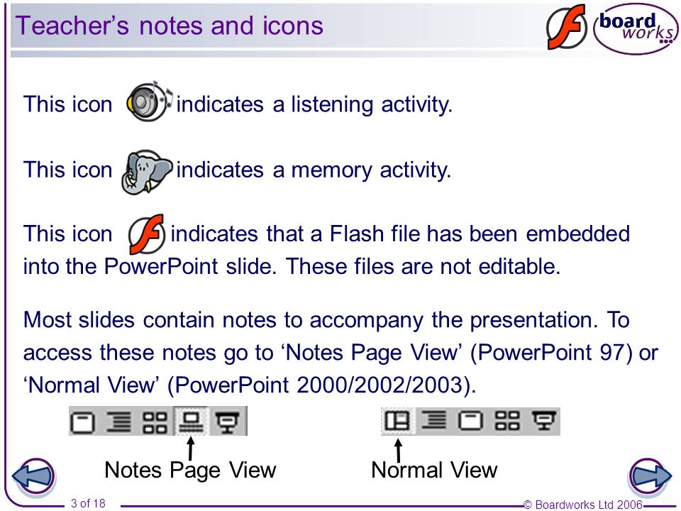 © Boardworks Ltd 2006 3 of 18 Most slides contain notes to accompany the presentation. To access these notes go to Notes Page View (PowerPoint 97) or