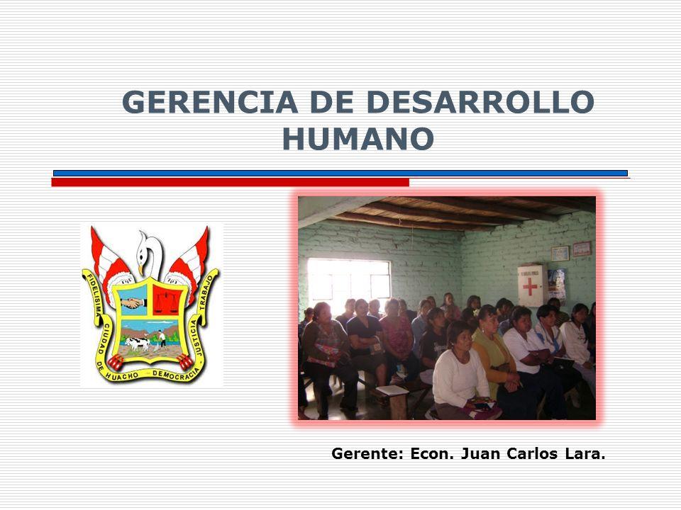 Gerente: Econ. Juan Carlos Lara. GERENCIA DE DESARROLLO HUMANO