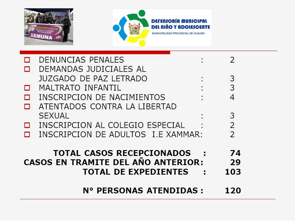 DENUNCIAS PENALES:2 DEMANDAS JUDICIALES AL JUZGADO DE PAZ LETRADO:3 MALTRATO INFANTIL:3 INSCRIPCION DE NACIMIENTOS:4 ATENTADOS CONTRA LA LIBERTAD SEXU