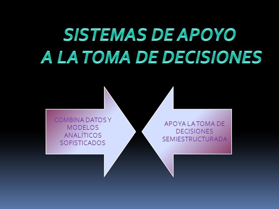 COMBINA DATOS Y MODELOS ANALÍTICOS SOFISTICADOS APOYA LA TOMA DE DECISIONES SEMIESTRUCTURADA